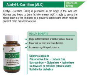 Acetlyl - L - Carnitine 500mg ( 60 capsules)
