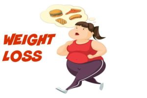 weight loss woman running thinking of food